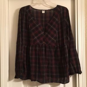 Old Navy XL long sleeve peplum plaid blouse
